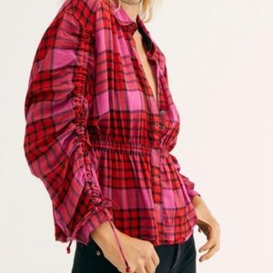 WE THE FREE BY FREE PEOPLE Plaid Top; SZ M NWT